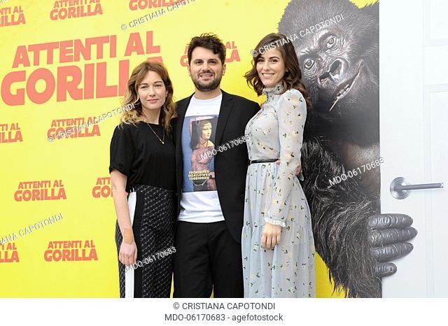 Cristiana Capotondi, Frank Matano and Diana Del Bufalo during Attenti al Gorilla photocall at The Space Cinema Moderno. Rome, January 8th, 2019
