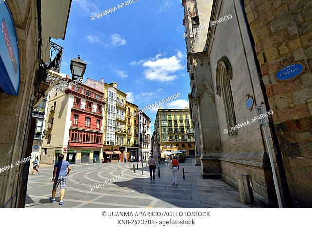 Santiago Square in Old Quarter, Bilbao, Biscay province, Basque Country, Euskadi, Spain, Europe