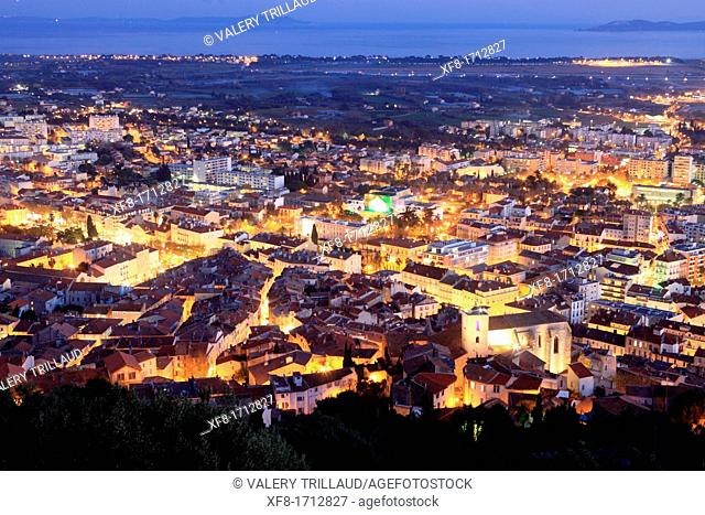 City lights of Hyères, Var, French Riviera, Provence-Alpes-Côte d'Azur, France