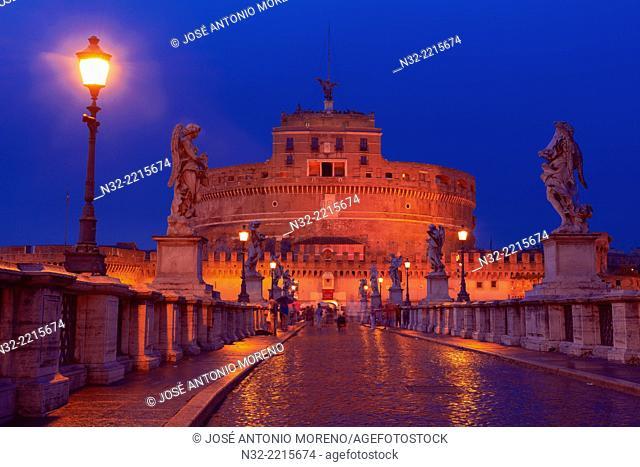 Sant Angelo Bridge, Castel sant Angelo, Sant Angelo Castel at Dusk, Mausoleum of Hadrian, Rome, Lazio, Italy