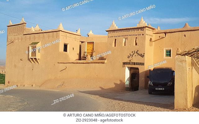 A hotel in traditional architecture. Kelaa M'gouna town. High Atlas. Morocco