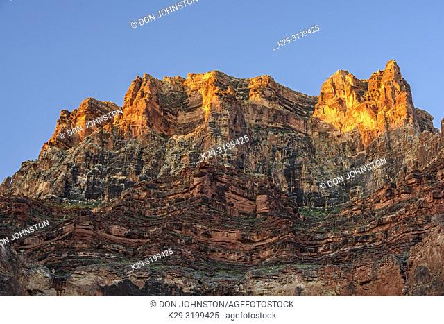 Morning light on Grand Canyon tower near the Little Colorado River, Grand Canyon National Park, Arizona, USA