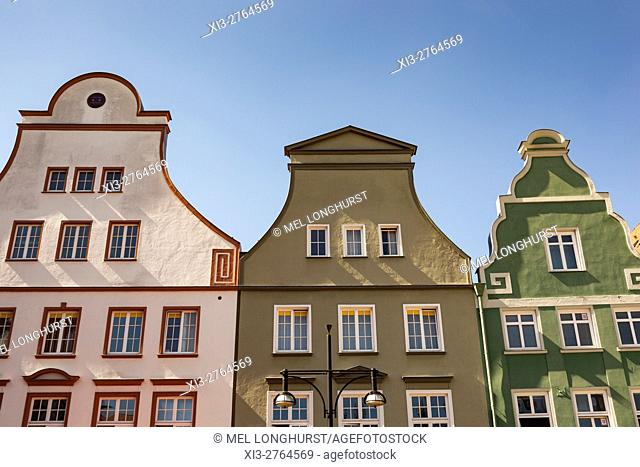 Buildings in Neuer Markt, New Market Square, Rostock, Mecklenburg-Vorpommern, Germany