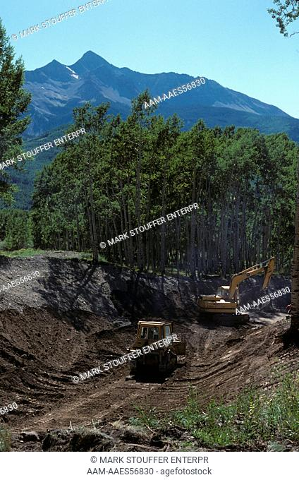 Road Construction, Pristine San Juan Mtns, 8750 ft, near Telluride, CO (Wilson Peak)