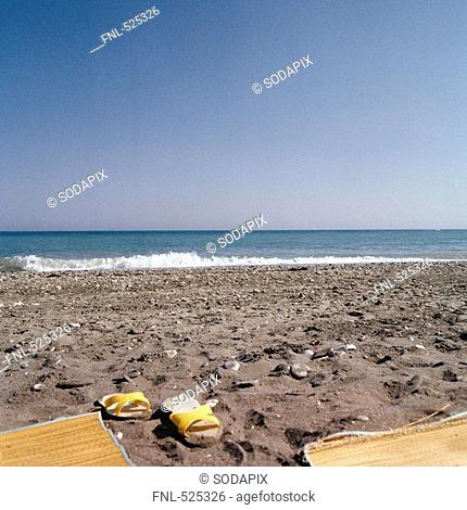 Spain andalusia costa del sol Torrox sea Waves Water Shore Vacation Sun South heat Excursion Trip Outlook View Sand Width black and white Mediterranean Shore...