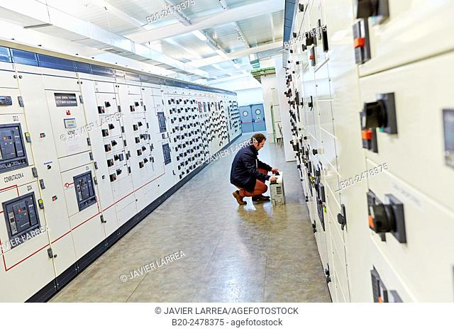 Maintenance worker, Overview Low Voltage, Wiring, Electrical panels, Hospital Donostia, San Sebastian, Gipuzkoa, Basque Country, Spain