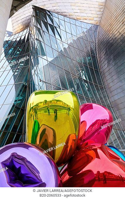'Tulips' by Jeff Koons, Guggenheim Museum, Bilbao, Bizkaia, Basque Country, Spain