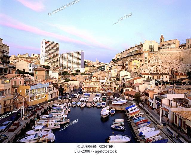 Harbour, Vallon des Auffes, Marseille, Bouches-du-Rhone, Provence, France