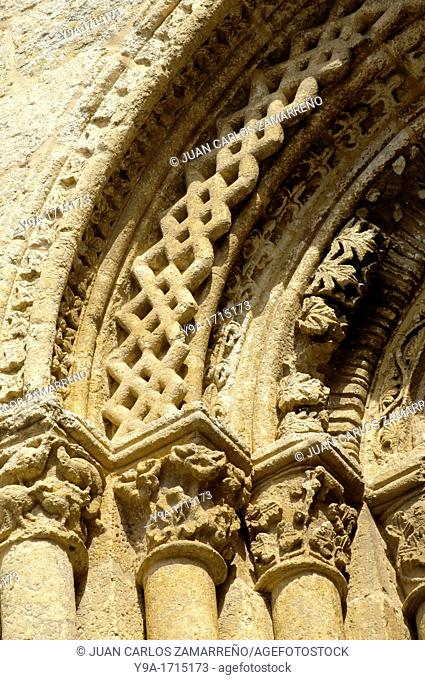 Artistical window archs detail at Ciudad Rodrigo's Cathedral, Ciudad Rodrigo, Salamanca, Castilla y Leon, Spain