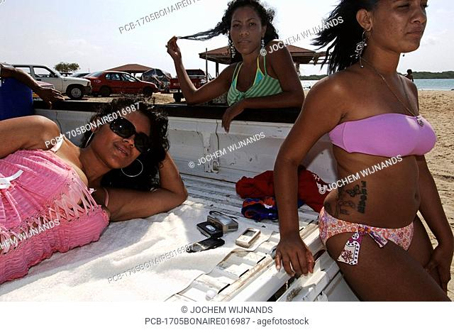 Netherlands Antilles, Bonaire, Sorobon, Lac Bay, sunday picnic in the back of a pick up truck