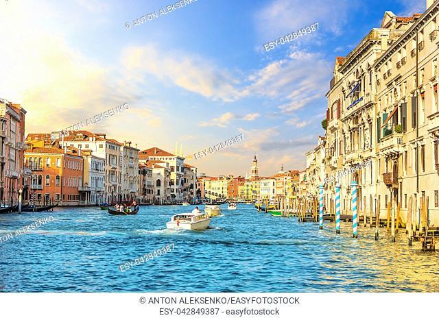 Grand Canal in Venice, view from the vaporetto on the Rialto Bridge
