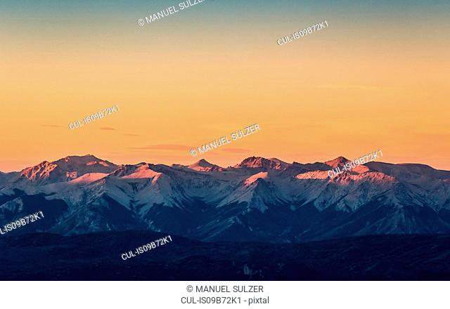 Sunset view of Andes mountain range, Nahuel Huapi National Park, Rio Negro, Argentina