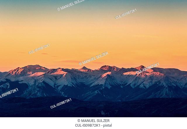 Sunset view of Andes mountain range, Nahuel Huapi National Park, Rio Negro, Argentina
