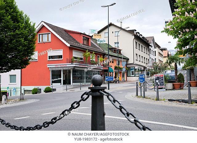 On the streets of the capital, Vaduz, Liechtenstein, Principality of Liechtenstein, Central Europe