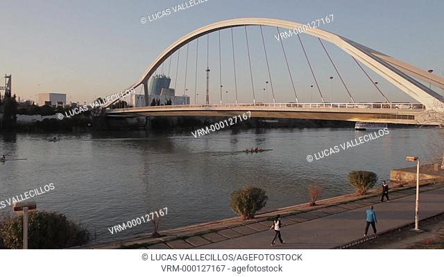 The river Guadalquivir. Bridge of La Barqueta . Seville, Andalusia, Spain