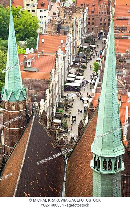 View on old town of Gdansk from tower of St  Mary's Church