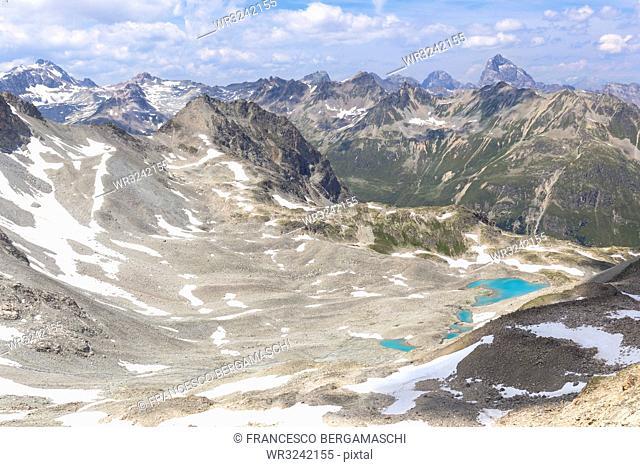 Elevated view of Lej Verd, Val Bever, Engadine Valley, Graubunden, Switzerland, Europe