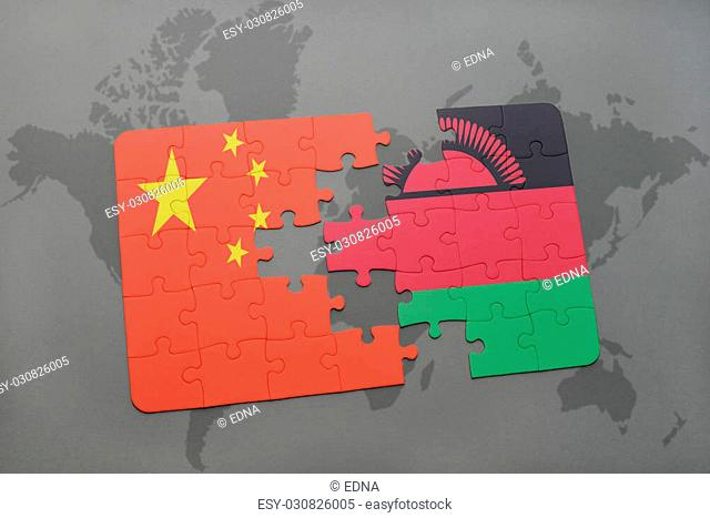 puzzle with the national flag of china and malawi on a world map background. 3D illustration