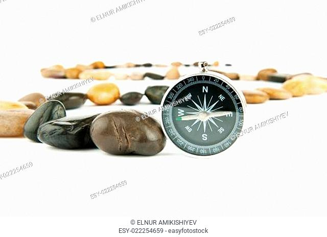 Pebbles and pebbles isolated on white