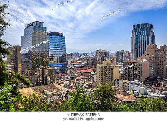 View from Terraza Caupolican, Santa Lucia Hill, Santiago de Chile, Chile, South America