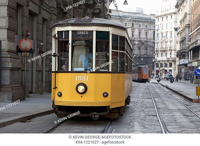 Tram in Orefici Street in Milan City Centre, Italy