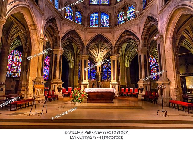 Altar Cross Column Shape of Palm Tree Stained Glass Saint Severin Church Paris France. Saint Severin one of oldest churches Paris located in the Latin Quarter