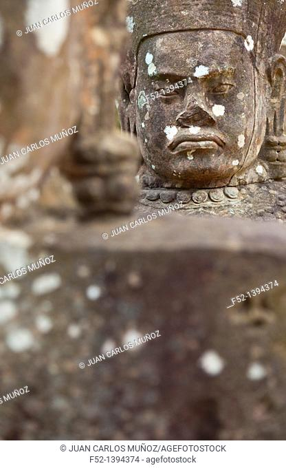 God head  South Entrance  Angkor Thom  Angkor  Siem Reap town, Siem Reap province, Cambodia, Asia