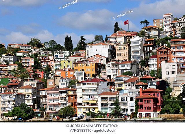 Sariyer town in the Bosphorus near Istanbul.Turkey
