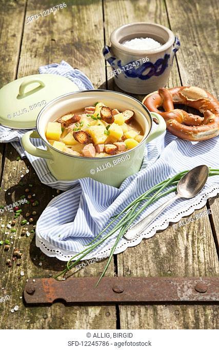 Bavarian stew with potatoes, steak and sauerkraut
