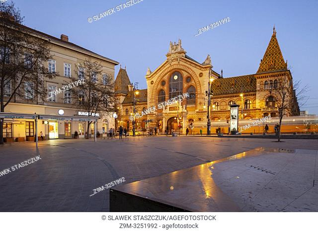 Evening at the Great Market Hall in Budapest, Hungary