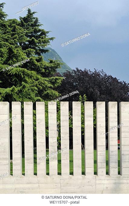 Concrete fence of a public park