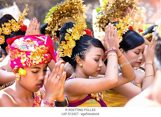 Balinese people praying, Odalan temple festival, Sidemen, Karangasem, Bali, Indonesia