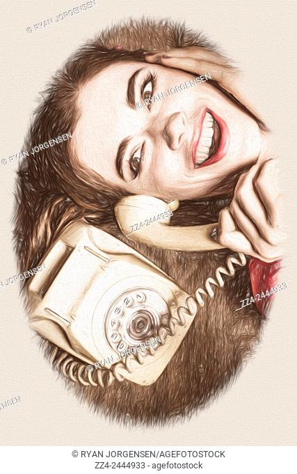 Fine art digital illustration of a cute pinup girl from 1950 talking on a retro yellow phone. Past conversation