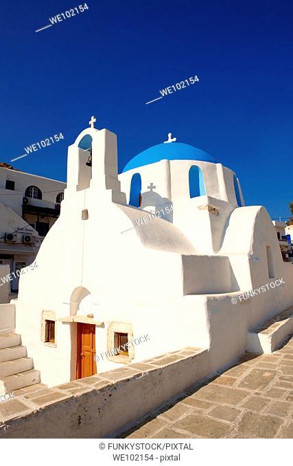 Blue domed white Byzantine Greek Orthodox Chapel of Panaghia Gremiotissa  Chora Hora, Ios, Cyclades Islands, Greece
