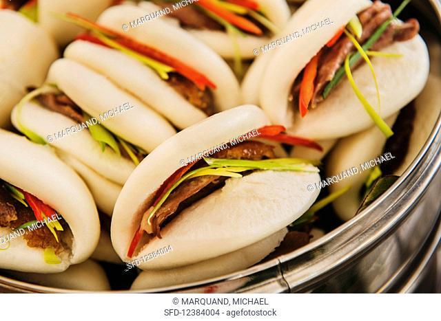 Tray of pork buns