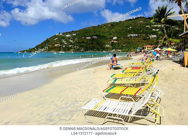 Cane Garden Bay Beach Tortola BVI Caribbean Cruise Lounge Chairs