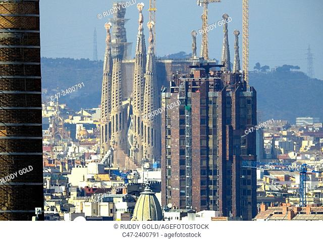 Sagrada Familia towers, Barcelona, Catalonia, Spain
