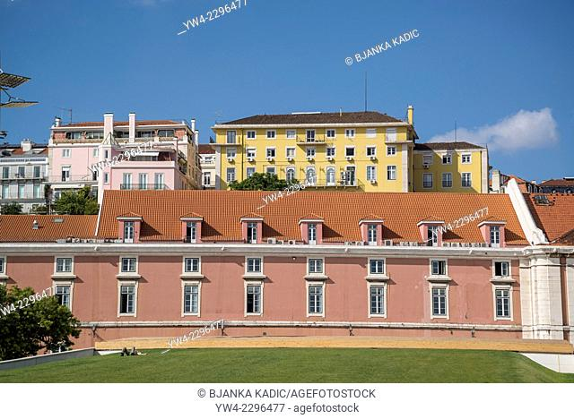 Buildings along the river Tejo in the centre of Lisbon, Portugal