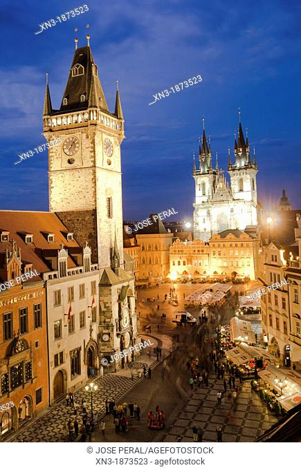 Astronomical clock, Old Town Hall, on background Church of Mother of God before Týn or Church of Our Lady before Tyn, Old Town Square, Staromestske namesti