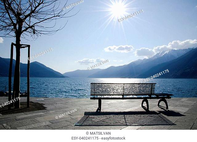 Bench and tree on an alpine lake front with reflections and mountains