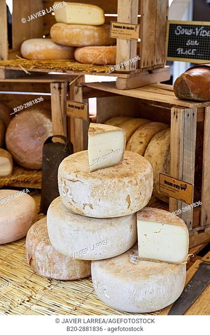 Cheese market, Ossau Iraty Cheese, Hendaye, Aquitaine, Pyrenees Atlantiques, France