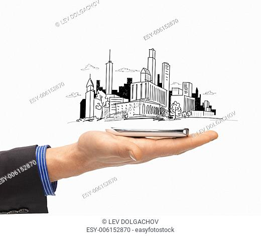 business and architecture concept - close up of man hand with smartphone and city sketch