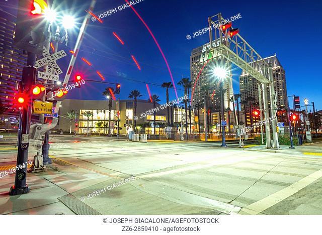 Downtown San Diego at night, cityscape. San Diego, California, USA