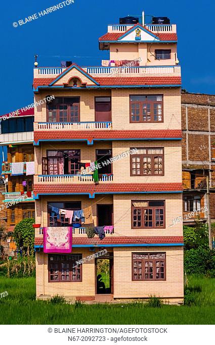 Apartment buildings, Bhaktapur, Kathmandu Valley, Nepal