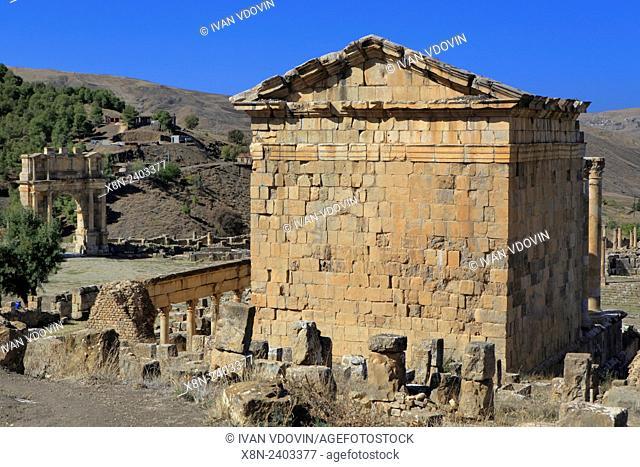 Temple of Gens Septimia, Ruins of ancient city Cuicul, Djemila, Setif Province, Algeria