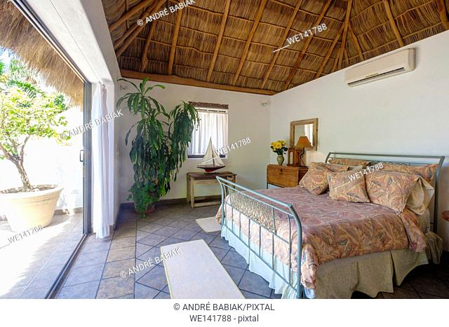 Upscale Mexican Residence - Bedroom with open living concept, Punta de Mita, Riviera Nayarit, Mexico