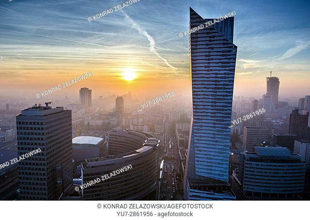 Sunset over Warsaw, Poland. View with Golden Terraces shopping mall and Zlota 44 skyscraper