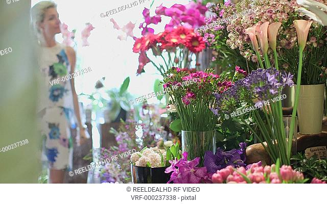 A Woman browses a florist and marvels at the diverse array, reaching out to smell them