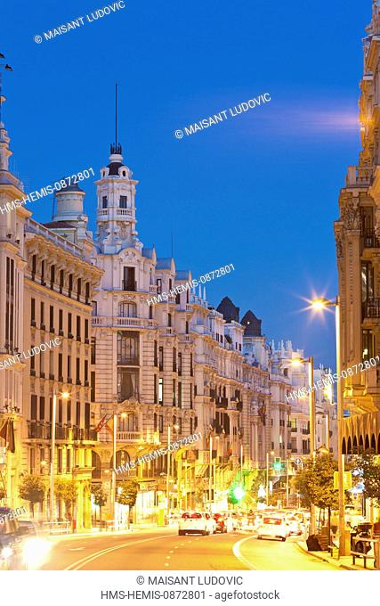 Spain, Madrid, Gran Via, downtown main artery with buildings from the early 20th century