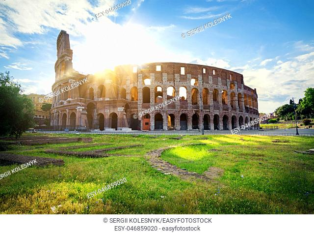 Early sunrise over the Coliseum in Rome